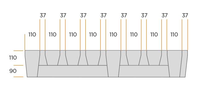 Longitudinal-diagonal plate grid