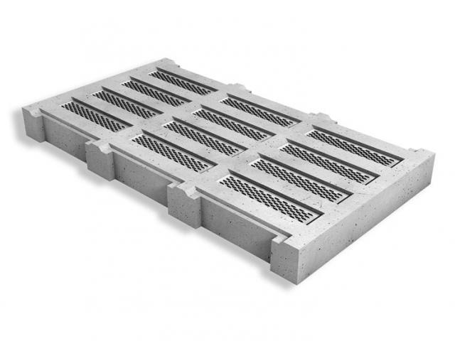 Beton ventilatierooster met metalen verluchtingsroosters